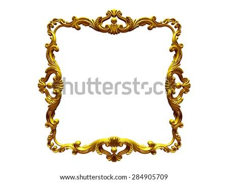 golden square frame - stock photo