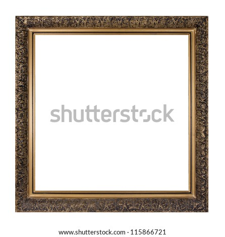 golden square picture frame isolated on white background