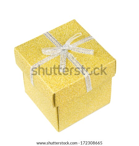 Golden, square, shiny gift box with silver ribbon on white background. - stock photo