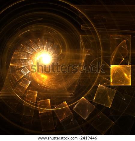 Golden staircase - stock photo