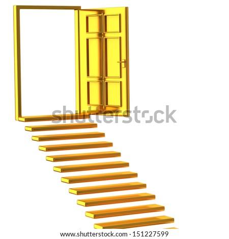 Golden stairs and open doors - stock photo