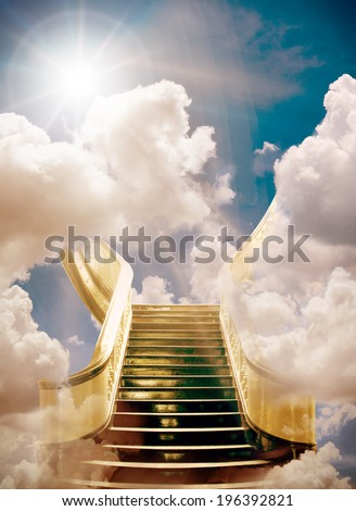 golden stairway to heaven background  - stock photo