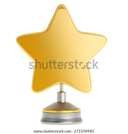 Golden star award isolated on white background. 3d render - stock photo