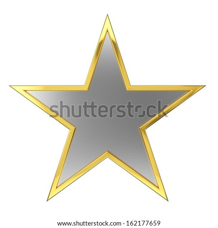 Golden Star Award with Silver Blank Space. Isolated on white background. - stock photo