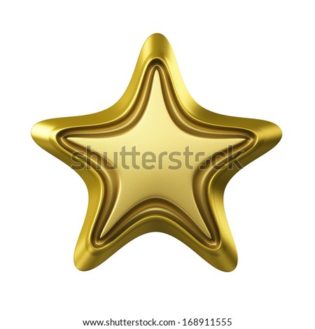 Golden Star , Clipping Path  - stock photo