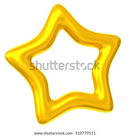 Golden star 3d - stock photo