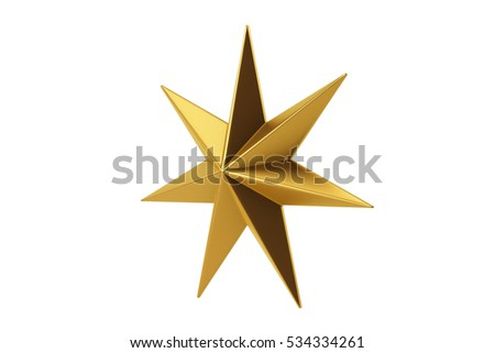 Golden star 3d Render isolate on white background