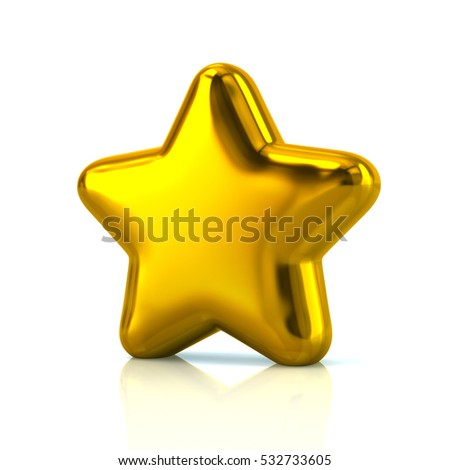 Golden star icon 3d rendering on white background