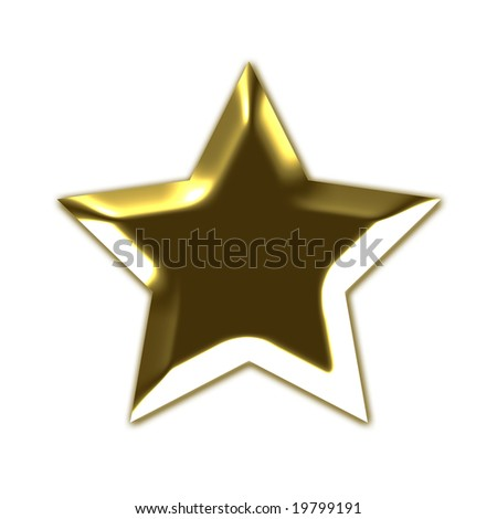 Golden star in 3D