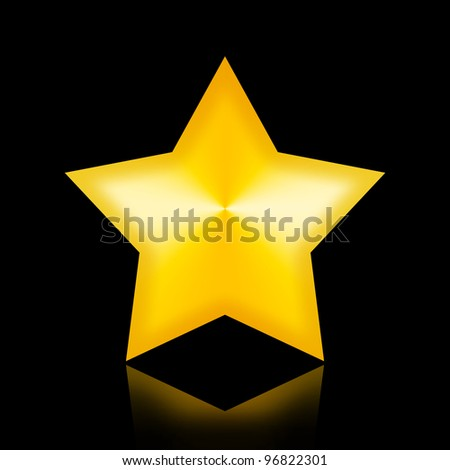 Golden star in the night - stock photo