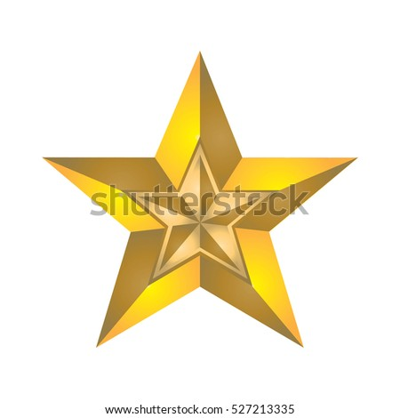 Golden star in yellow star isolated on white background
