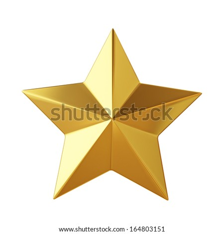 golden star isolated on white background - stock photo