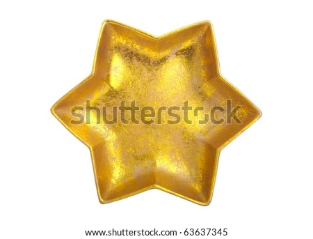 Golden Star isolated over white - beautiful christmas decoration - stock photo