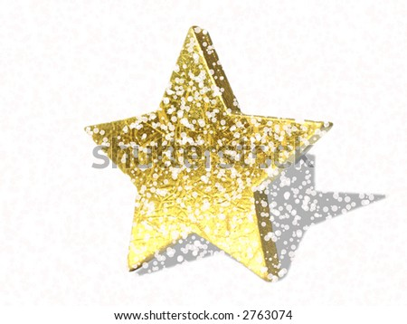 golden star with snowflakes - stock photo