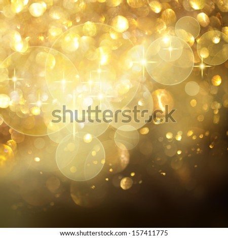 Golden Stars and Lights Background - stock photo