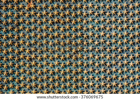 Golden stars at world war II memorial - stock photo