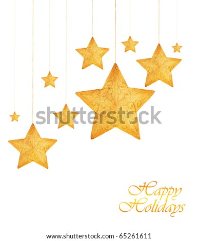 Golden stars, Christmas tree ornaments and holiday decorations isolated on white background - stock photo