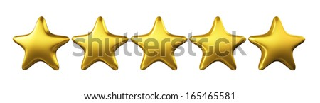 Golden Stars , Clipping Path  - stock photo