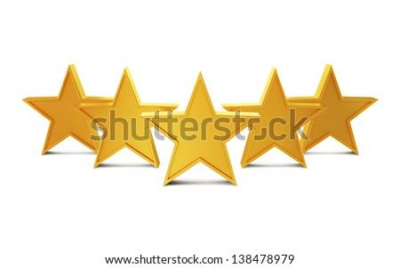 Golden Stars Isolated on White Background - stock photo