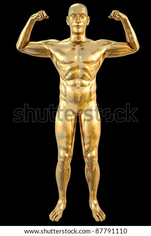 golden statue of athlete. isolated on black. - stock photo