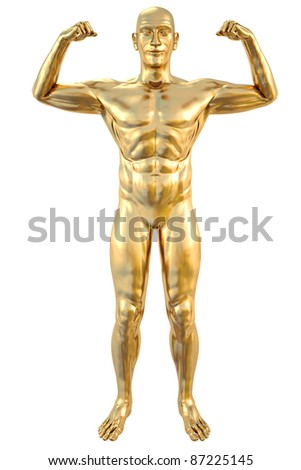 golden statue of athlete. isolated on white. - stock photo