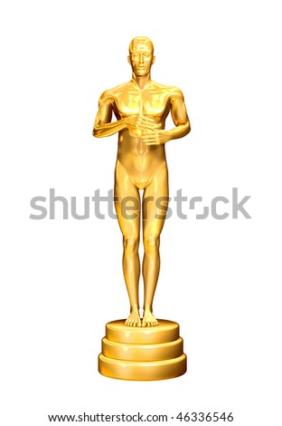 Golden statuette. - stock photo