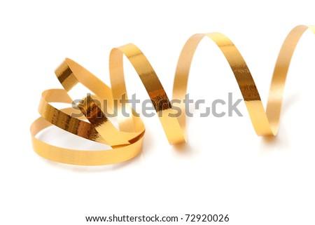Golden streamer over white background - stock photo