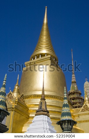 Golden stupa in the Grand palace area in Bangkok, Thailand - stock photo