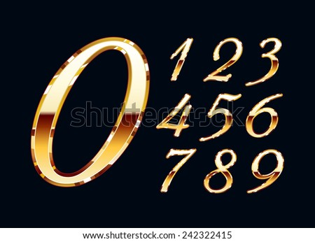 Golden stylish numbers with reflection. Set. Zero 0 One 1 Two 2 Three 3 Four 4 Five 5 Six 6 Seven 7 eight 8 nine 9. - stock photo