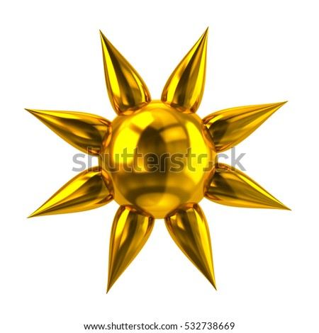 Golden sun icon 3d rendering on white background