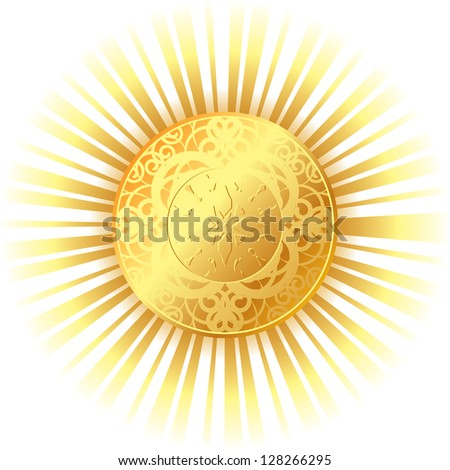 golden sun with bright rays - stock photo