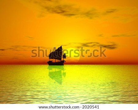 Golden sunset - stock photo