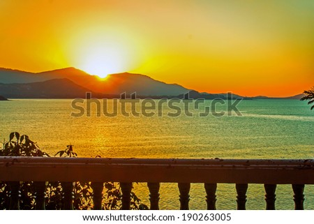Golden sunset above the sea on Samui island  - stock photo