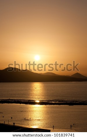 golden sunset at the beach