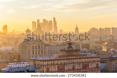 Golden sunset in Moscow, the capital of Russia - stock photo