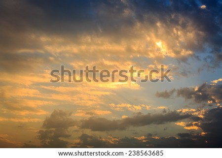 Golden sunset in the sky - stock photo