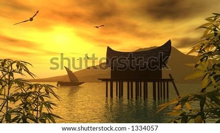 golden sunset on a wonderful lagoon - stock photo