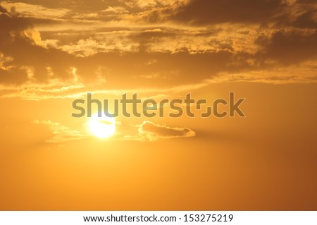 Golden sunset over the Black Sea - stock photo