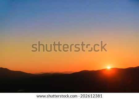 Golden sunset over the Green Mountains, Stowe, Vermont, USA - stock photo