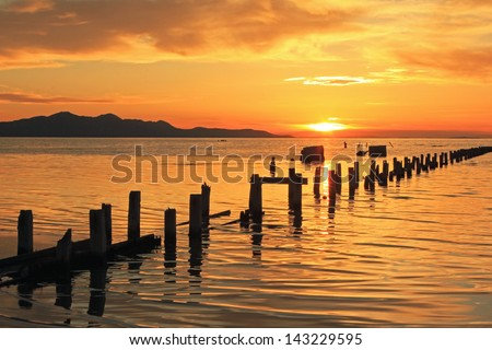 Golden sunset with old wooden posts at the Great Salt Lake, Utah, USA. - stock photo