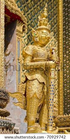 golden temple guard figure in a Thailand temple