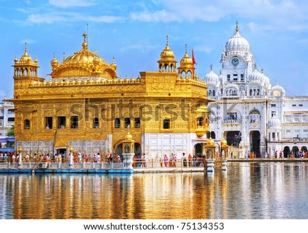 Golden Temple, the main sanctuary of Sikhs, Amritsar, India - stock photo