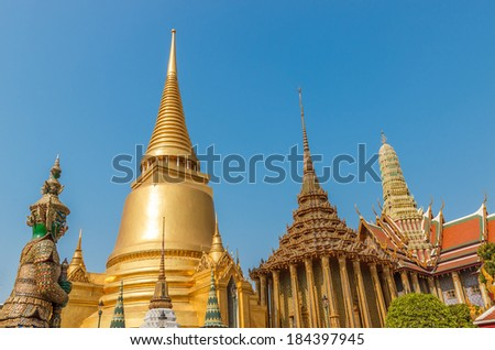 Golden Temple Wat Phra Kaeo, Temple of the Emerald Buddha  - stock photo