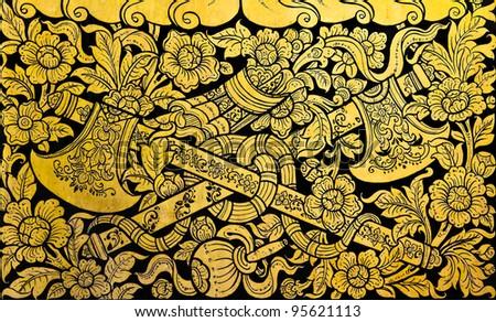 Golden Thai Cross Axe Pattern On Stock Photo (Royalty Free) 95621113 ...