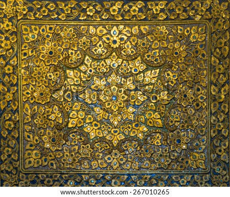 Golden Thai decorative carve artistic pattern from Thai temple (General art Thai Temple) - stock photo