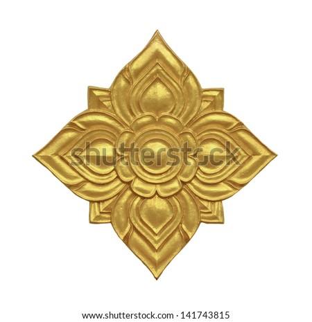 Golden Thai decorative pattern isolated on white background - stock photo