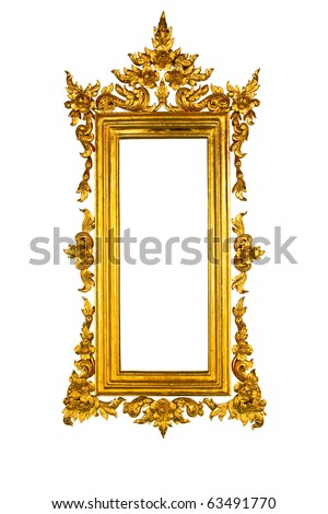Golden Thai square style frame isolated on white background - stock photo