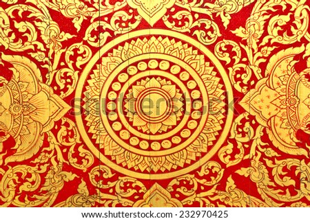 Golden Thai style pattern design handcraft. - stock photo