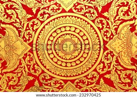Golden Thai style pattern design handcraft. - stock photo