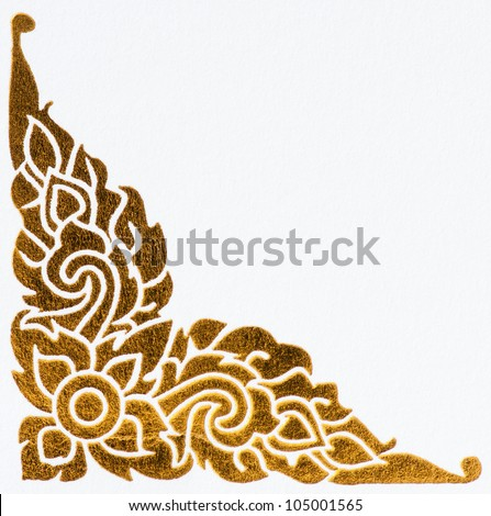 golden thai style pattern on wall, traditional art - stock photo